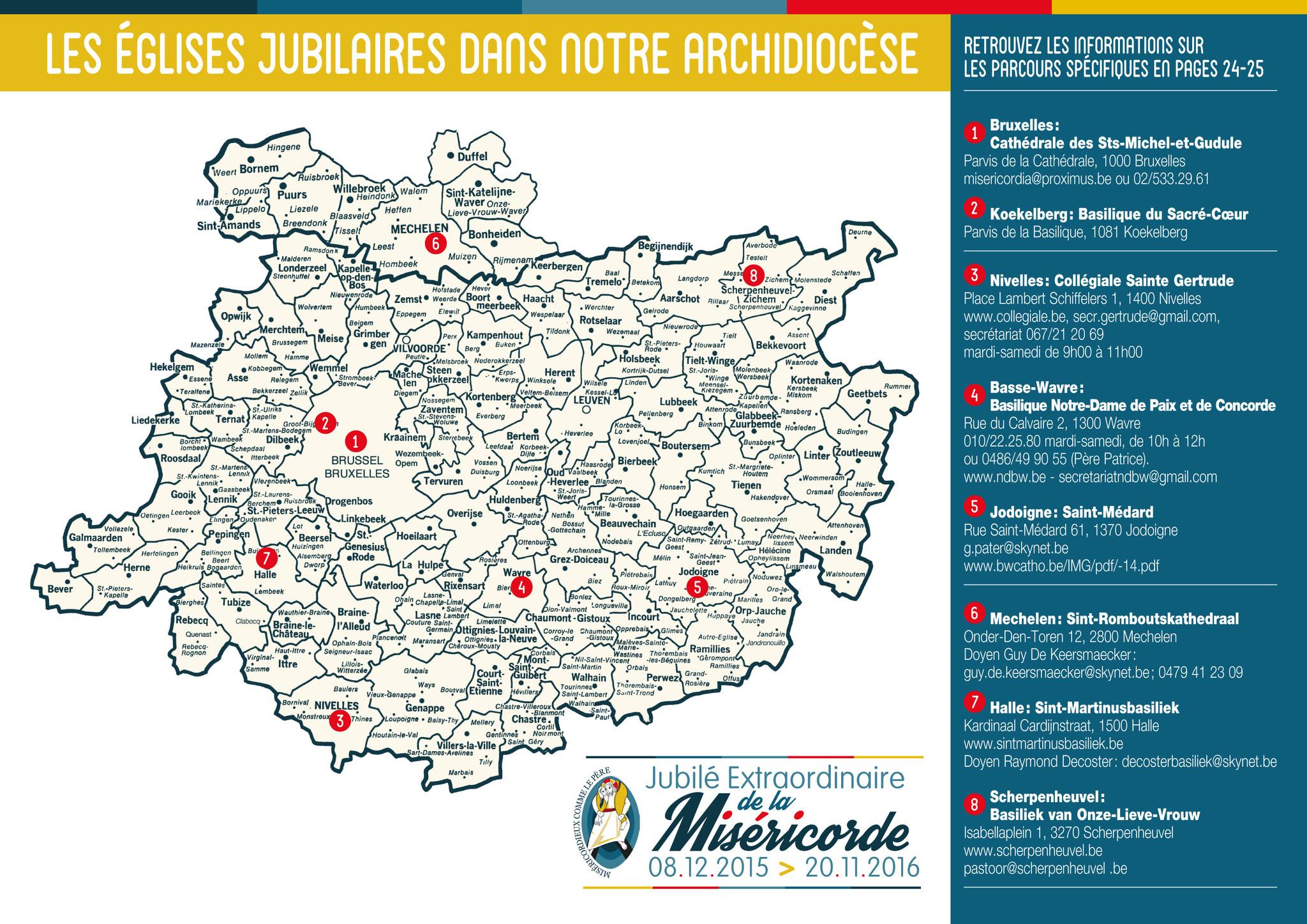La carte des églises jubilaires